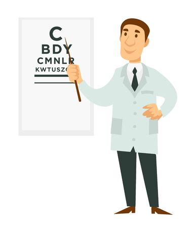 Ophthalmologist doctor and signboard with letters isolated male character 向量圖像