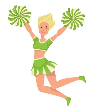 Girl cheerleader in uniform with pompoms jumping isolated female character Çizim