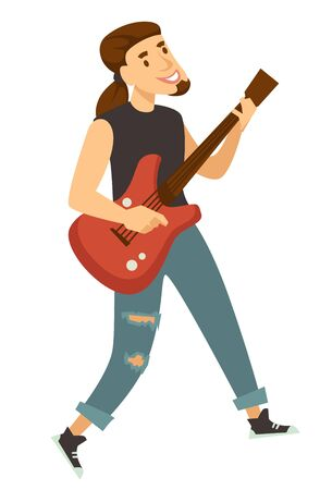 Rocker guitar player or musician isolated male character