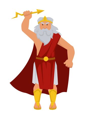 Zeus Greek God isolated male character elderly man with lightning in hand