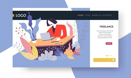 Distant work freelance web page template woman with laptop at table vector Internet site mockup job at home with mobile computer freelance modern profession programmer or copywriter web designer 일러스트