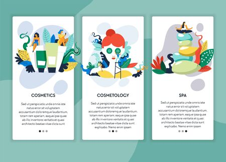 Beauty salon cosmetics cosmetology and spa procedures web page templates vector creams and lotions facial mask meditation and yoga recreation and skincare or healthcare Internet site template