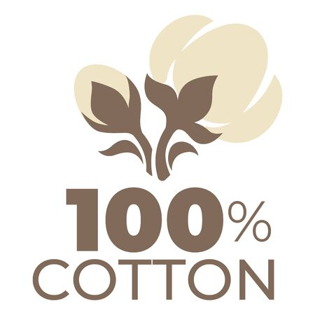 Cotton product label natural material field plant isolated icon Çizim