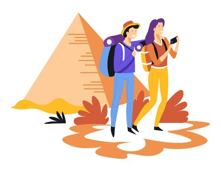 Tourism couple with backpacks and Egyptian pyramids traveling and sightseeing Illustration