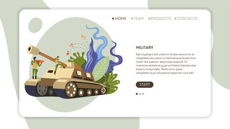 Army soldiers in uniform and tank web page template Stock Illustratie