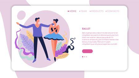 Dance classes ballet dancing web page template Standard-Bild - 132930475
