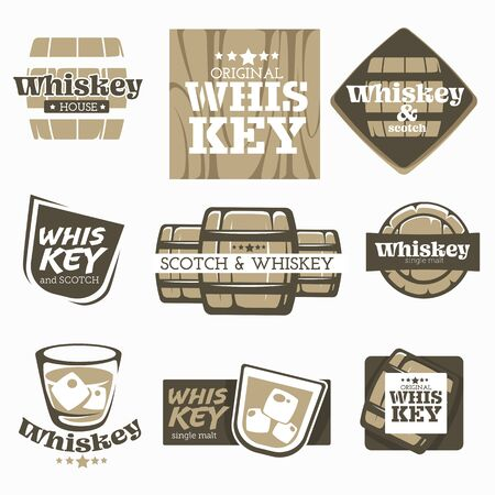 Whiskey and scotch production factory or brewery isolated icons Banque d'images - 132958155