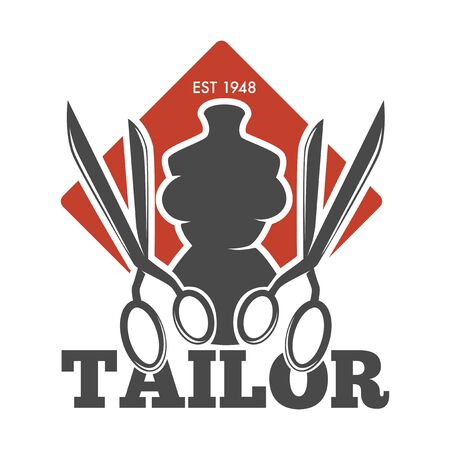Tailor service or atelier mannequin and scissors isolated icon