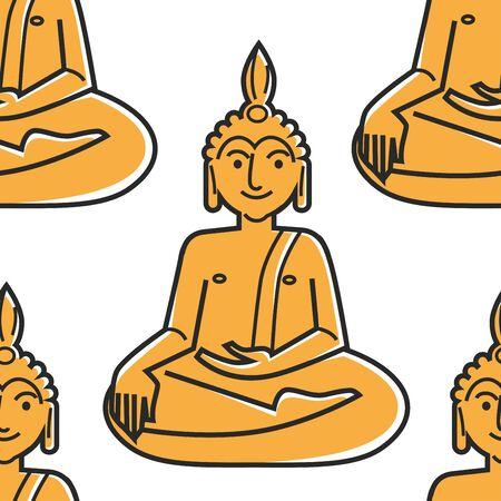 Buddha gold statue seamless pattern Thailand symbol