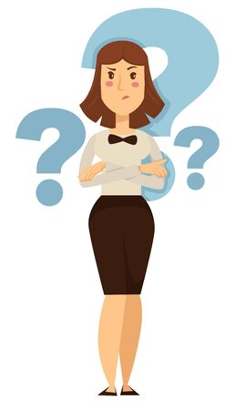 Hesitation and doubt businesswoman taking decision question marks vector isolated female character in office clothes with bow choice making and questioning face expression employee or entrepreneur