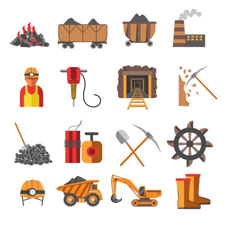 Coal mine mining industry equipment machinery and plant vector truck and cart helmet with lighter excavator and underground tunnel dynamite and boots miner and electric drill factory and raw material Ilustração