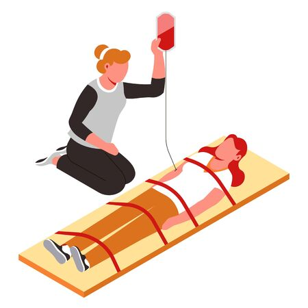 First aid medical help nurse and patient spine fixation on stretcher and blood transfusion vector emergency service life saving or rescuing injured woman and paramedic healthcare and treatment