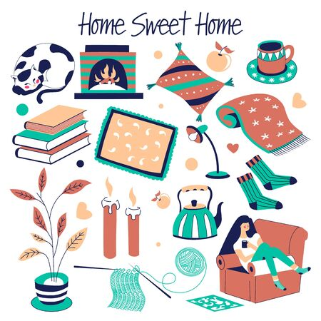 Furniture and house decor sweet home isolated objects vector cat and fireplace carpet and books pile cup on saucer and lamp socks and teapot candles and indoor plant girl on couch knitting tools Ilustracja
