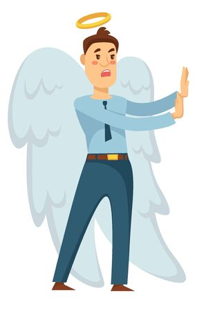 Angel with wings and halo businessman stopping from bad decision vector good side right choice protection and care heaven creature man in office suit concerned look entrepreneur conscience concept