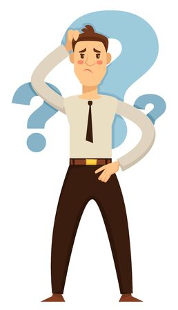 Taking decision hesitation and doubt businessman question marks vector isolated male character in office clothes holding head choice making and confused face expression employee or entrepreneur Illustration
