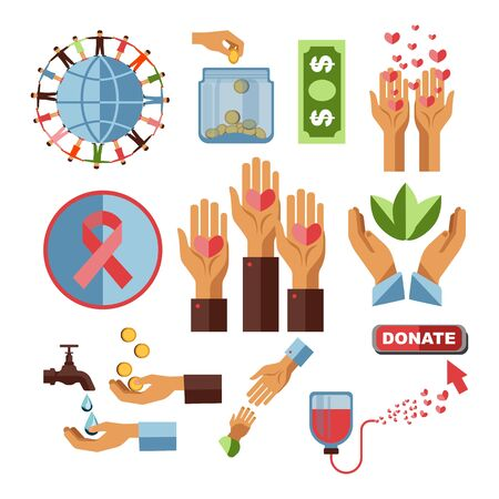 Blood donation center and charity fund vector hearts and human hands cancer stripe blood packs and water drops gold coins and plants banknote or dollar bill glass jar globe and people holding hands Ilustração