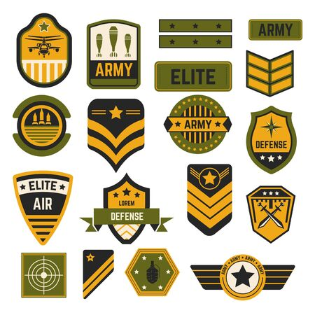 Elite military service army signs and badges or stripes vector air and navy country defense stars helicopter and bombs swords and rockets aim or target soldier accessories state servants emblems