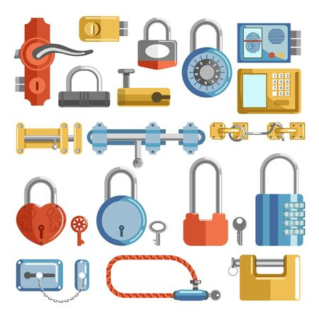 Door handle and padlocks locks and keys isolated objects vector latches house security and protection code and keyhole fingerprint scan and electronic system mechanic device heart shape bicycle loop Vektoros illusztráció