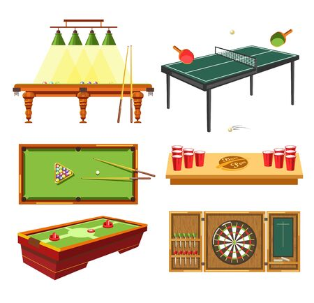 Darts ad games on table pool or billiard table tennis vector beer pong and hockey sport and entertainment competition and tournament rackets and ball cues and holes paper cups and puck aim or target Çizim