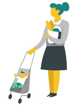 Mother and son woman on shopping with baby in pram baguettes in pack vector isolated female character buying food and walking with kid motherhood and household chores bakery product in paper pack