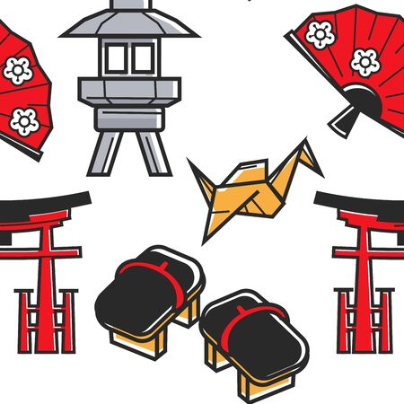 Japan culture and traveling Japanese symbols seamless pattern vector origami and geta footwear torii gate and fan street lantern endless texture art and traditions tourism landmarks and attractions