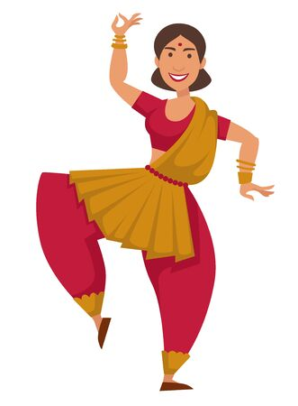 Dance Indian woman in sari dancing isolated female character vector girl in traditional clothing movement or pose traveling and tourism nationality tradition and customs travel to India hobby or sport