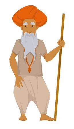 Anciano indio de nacionalidad con palo de madera en turbante con cruz en el cuello vector aislado personaje masculino traje tradicional viaje a aborigen de etnia India explorar raza asiática humana mundo Ilustración de vector
