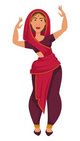 Nationality Indian woman in sari dancing tradition and customs of India vector isolated female character in shawl showing moves performance gold jewelry girl and national dance traveling and tourism Illustration
