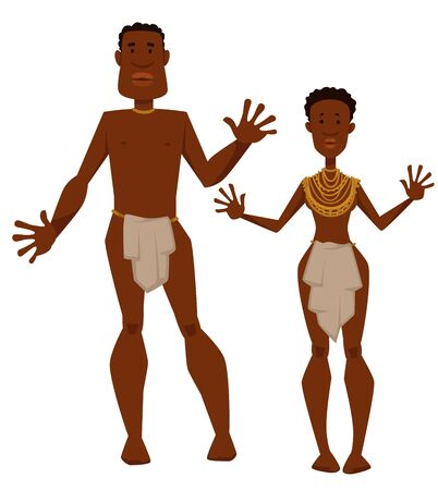 African tribe man and woman aborigines in animal skin and jewelry vector isolated male and female characters naked girl and guy desert or savannah couple or family in loincloth and gold necklaces Standard-Bild - 133109737