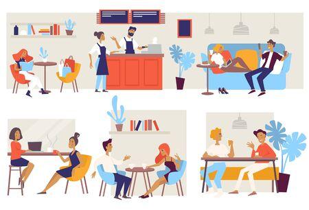 Kawiarnia lub kawiarnia krzesła i kanapy barista i klienci wektor para na randkę biznesowy lunch przyjaciele spotykają się z kobietą po zakupach stoły krzesła i kanapa lub kanapa bar i kelnerka w fartuchu