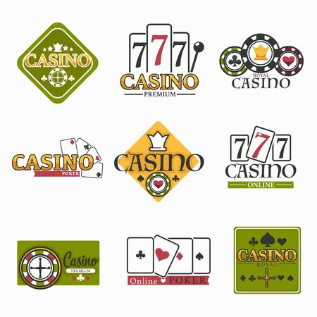 Gambling casino club isolated icons poker chips and play cards vector blackjack game and roulette wheel with money stakes and betting risk and luck win fortune playing and gamble online service emblem