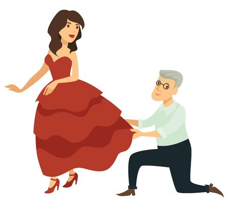 Fitting fashion designer and model in handmade dress or evening gown vector tailor or couturier and girl mannequin couture clothes craft clothing creation elderly man in glasses and woman on heels