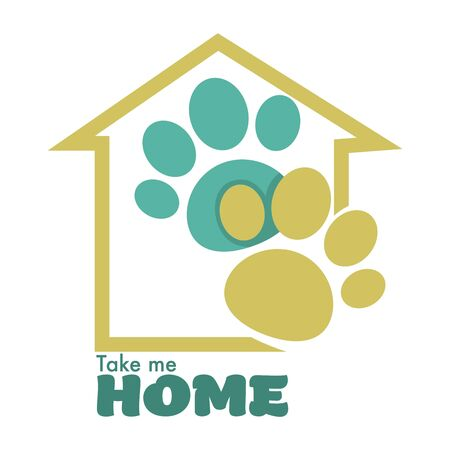 Animal shelter or pet shop isolated icon home and paw vector cats and dogs adoption charity and domestication kitty or puppy taking to family emblem or logo building silhouette and pawprints Illustration