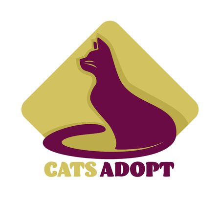 Animal shelter cats adoption isolated icon care and love vector mammal taking home charity and domestication kitty or feline taking to family emblem or logo domestic species with whiskers tail and fur