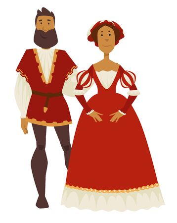 Renaissance style couple man and woman ball gown and leggings