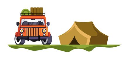 Camping and jeep car with baggage tent trip and nature