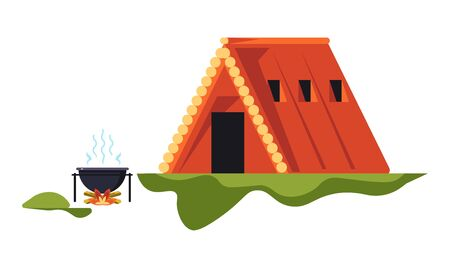 Wooden hut and campfire camping recreation on nature isolated object