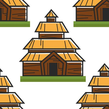 Wooden house Norwegian ancient building seamless pattern