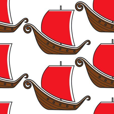 Norwegian ancient warship vikings sailboat seamless pattern
