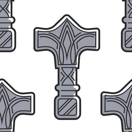 Vikings weapon seamless pattern Mjolnir hammer of Thor Ilustração