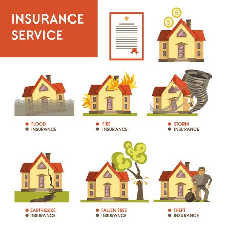 Insurance service financial payment natural disaster and robbery Banque d'images - 133109901