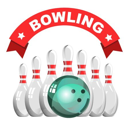 Bowling game club isolated icon skittles and ball