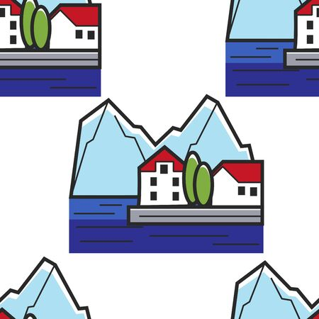 Montenegrin landscape seamless pattern house on shore and mountains 일러스트