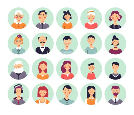 People avatars genealogical family tree elements isolated icons