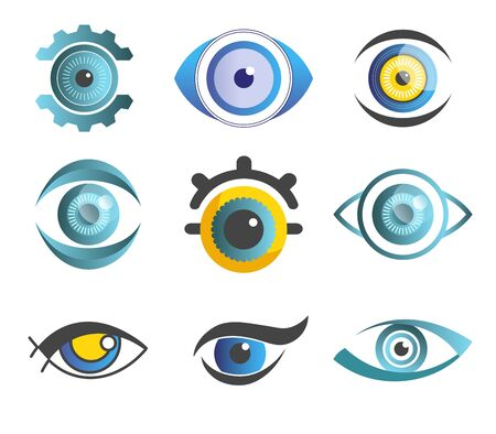 Vision eyes isolated abstract icons color pupils