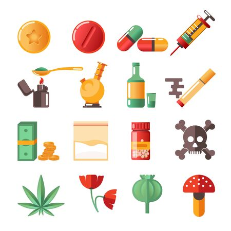 Drugs isolated icons marijuana and heroine cocaine and ecstasy Stock Vector - 133110073