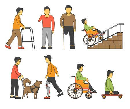 Handicapped person injured wheelchair or prosthesis isolated character