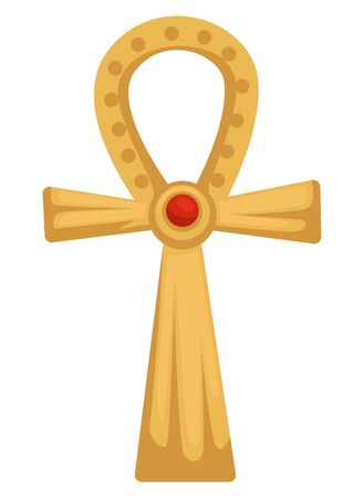 Egyptian gold coptic cross or Ankh with ruby stone isolated object Illustration