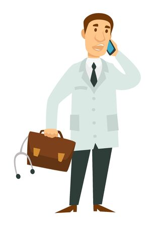 Medical worker doctor with telephone briefcase and stethoscope isolated character