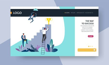 Profession way to success career ladder prize on top web page template vector businessman or entrepreneur professional promotion award and reward Internet site mockup competition or work challenge Illustration